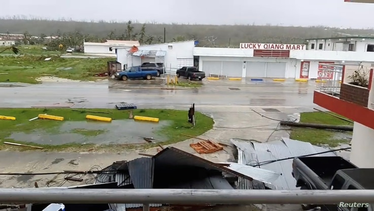 A view shows damages caused by Super Typhoon Yutu in Tinian, Northern Mariana Islands, Oct. 25, 2018, in this still image taken from a video obtained from social media.