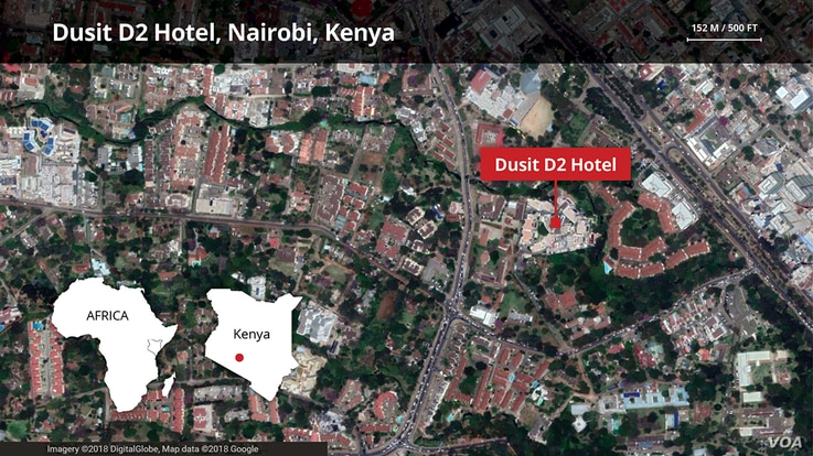Map of Dusit, D2 Hotel in Nairobi Kenya