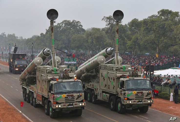 FILE - Indo-Russian supersonic cruise missiles called BrahMos are displayed during the full-dress rehearsal ahead of Republic Day parade in New Delhi, India, Jan. 23, 2015.