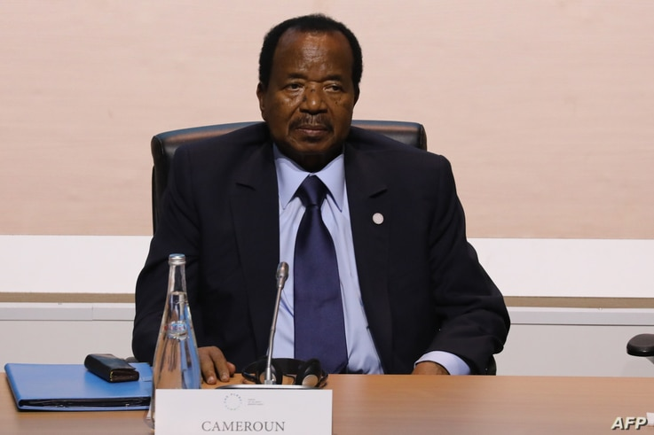 FILE - Cameroon's President Paul Biya attends a session of the One Planet Summit on Dec. 12, 2017, at La Seine Musicale venue on l'ile Seguin in Boulogne-Billancourt, west of Paris.