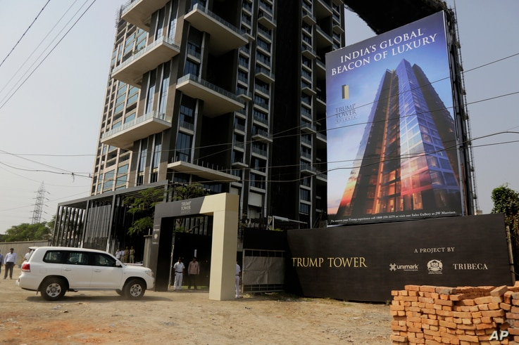 Son of U.S. President Donald Trump, Donald Trump Jr.'s convoy arrives at the construction site of the Trump Tower project in Kolkata, India, Feb. 21, 2018.