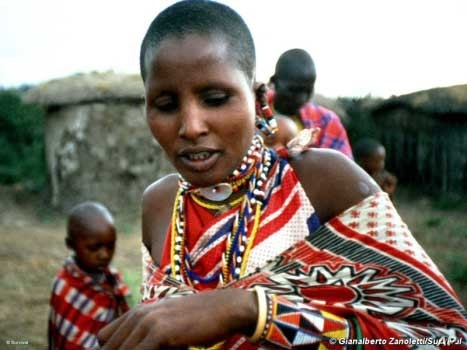 A Maasai woman in her traditional village in northern Tanzania, where the indigenous people are locked in a battle to maintain their culture