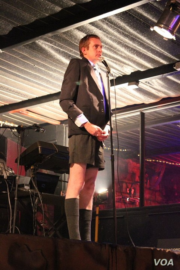 Etienne Shardlow takes to the stage as his hilarious 'Schoolboy' character (Courtesy E. Shardlow)