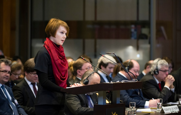 ICJ holds hearings in the Case of Ukraine v. Russian Federation The Agent of Ukraine, H.E. Ms Olena Zerkal, on the opening day of the hearings.