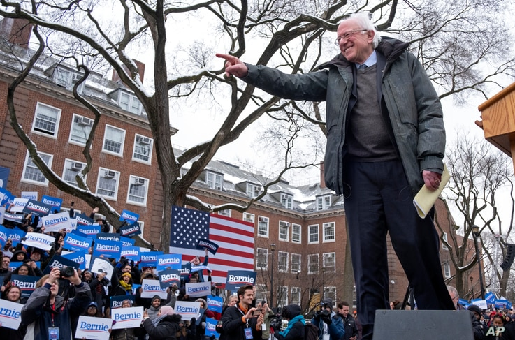 Sen. Bernie Sanders, I-Vt., arrives to the stage as he kicks off his 2020 presidential campaign, March 2, 2019, in the Brooklyn borough of New York.