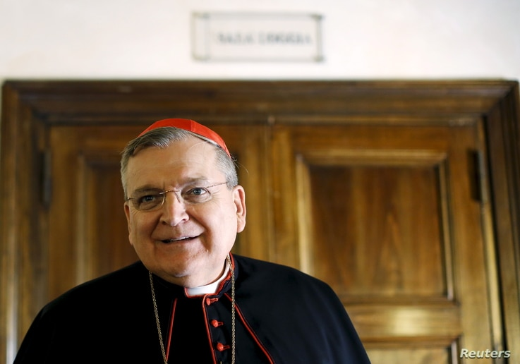 Cardinal Raymond Leo Burke attends a news conference by a conservative Catholic group in Rome, Oct. 15, 2015.