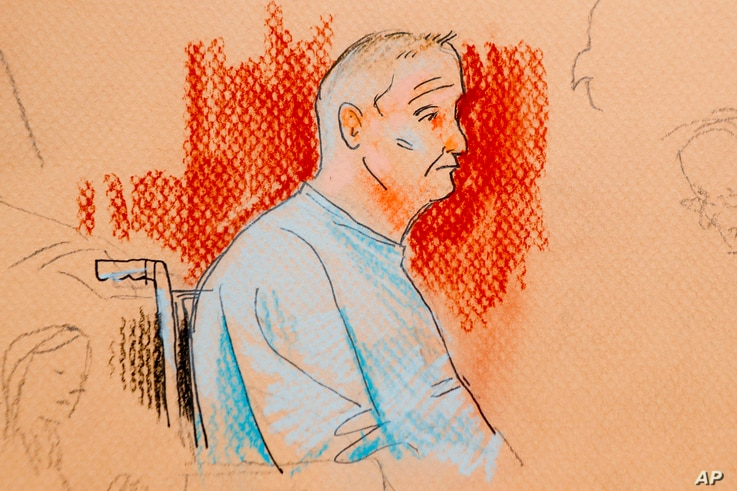 This courtroom sketch depicts Robert Gregory Bowers, who was wounded in a gun battle with police as he appeared in a wheelchair at federal court on Oct. 29, 2018, in Pittsburgh.