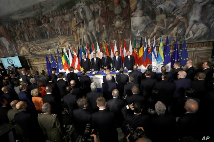 Leaders of the European Union wait for the start of a meeting in the Orazi and Curiazi Hall at the Palazzo dei Conservatori during an EU summit in Rome,  March 25, 2017. European Union leaders were gathering in Rome to mark the 60th anniversary of th...