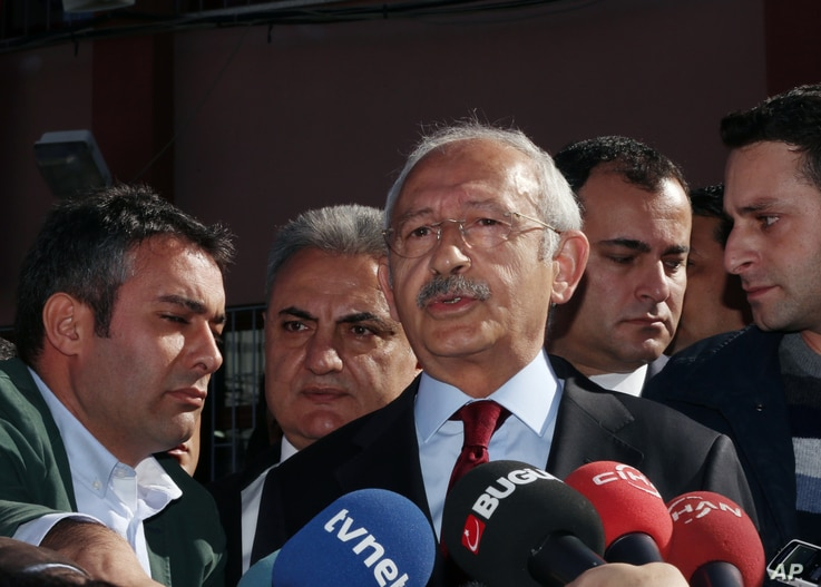 "FILE - Turkey's main opposition Republican People's Party leader Kemal Kilicdaroglu is seen speaking to the media in Ankara, Turkey, Nov. 1, 2015. Of Thursday's court decision he said it ""revealed how right in our criticisms we were in the past."""