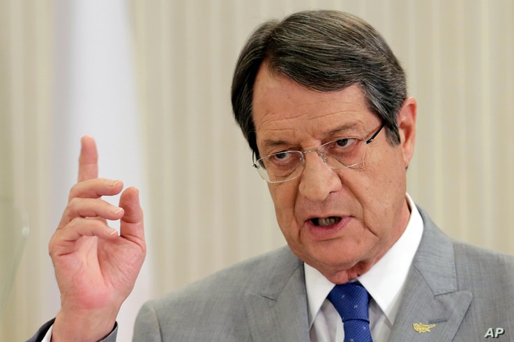 Cyprus' President Nicos Anastasiades talks to the nationally televised news conference at the presidential palace in divided capital Nicosia, Cyprus, July 10, 2017.