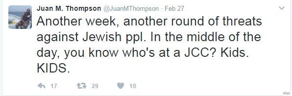 Juan Thompson's Twitter feed shows he also tweeted numerous times, apparently condemning the bomb threats he is accused of having committed. Thompson was arrested Friday and accused of making recent bomb threats to at least eight Jewish community c...