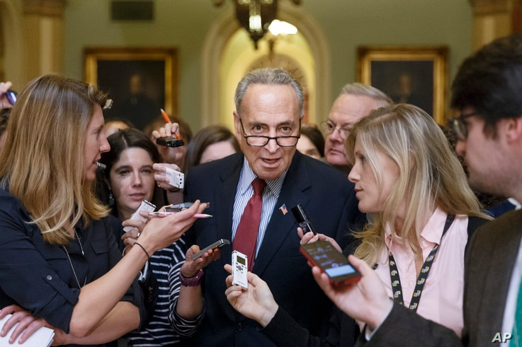 Senator Chuck Schumer, the Senate Democratic Policy Committee chairman, is surrounded by reporters as he emerges from a caucus luncheon at the Capitol in Washington, July 29, 2014.