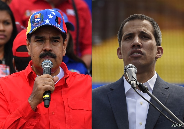 FILE - This combination of photos shows Venezuelan President Nicolas Maduro (L) delivering a speech in Caracas, Feb. 2, 2019, and opposition leader Juan Guaido addressing a gathering of supporters in Caracas, Feb. 2, 2019.