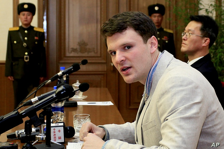 FILE - American student Otto Warmbier speaks as he is presented to reporters in Pyongyang, North Korea.