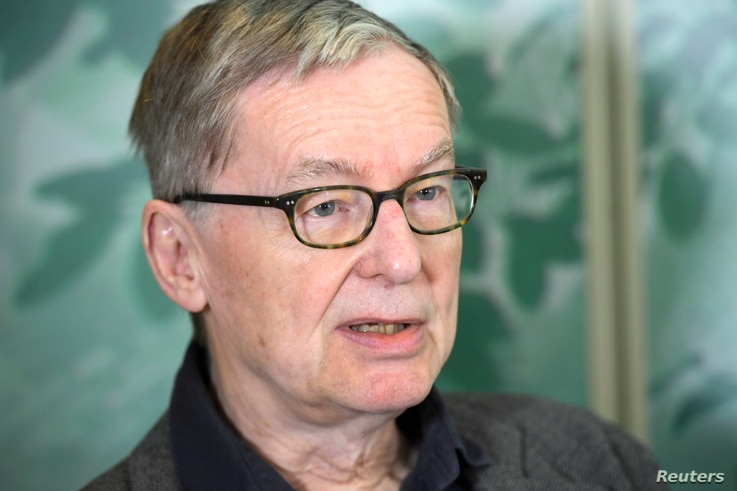 Anders Olsson, the acting permanent secretary of the Swedish Academy, announces that the Swedish Academy postpones the award of 2018 Nobel literature prize, during an interview to the Swedish newsagency TT News Agency, in Stockholm, Sweden, May 4, 20...