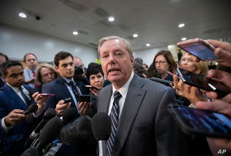 Sen. Lindsey Graham, R-S.C., chairman of the Subcommittee on Crime and Terrorism, speaks to reporters after a closed-door security briefing by CIA Director Gina Haspel on the slaying of Saudi journalist Jamal Khashoggi and involvement of the Saudi cr...
