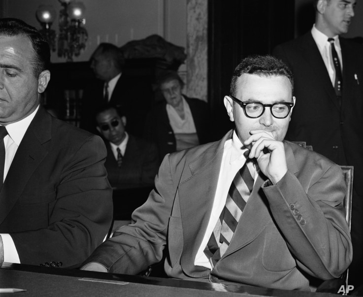 David Greenglass, serving a 15-year term for espionage, attends the Senate Internal Security subcommittee, probing the use of American citizens for Russian intelligence purposes on April 26, 1956 in Washington.