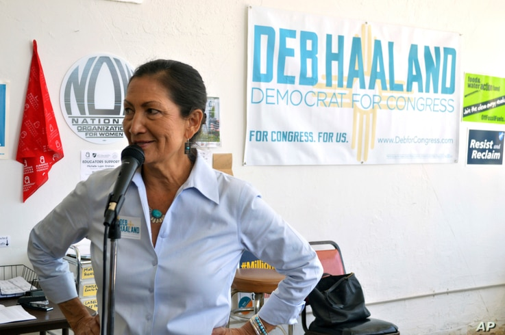 Debra Haaland, a Democratic candidate for Congress, speaks at her Albuquerque, N.M., headquarters, June 4, 2018. She won her party's nomination and will vie for the state's 1st District seat.