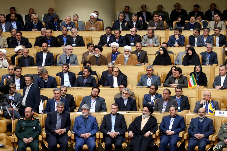 "Iranian officials listen to speech of supreme leader Ayatollah Ali Khamenei during a conference titled ""international conference in support of Palestinian Intifada"" in Tehran, Iran, Feb. 21, 2017."