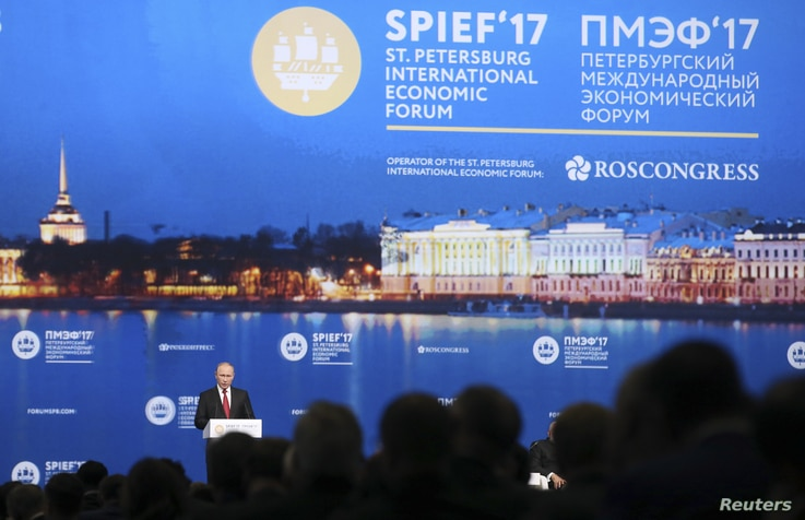 Russian President Vladimir Putin delivers a speech during a session of the St. Petersburg International Economic Forum (SPIEF), June 2, 2017.