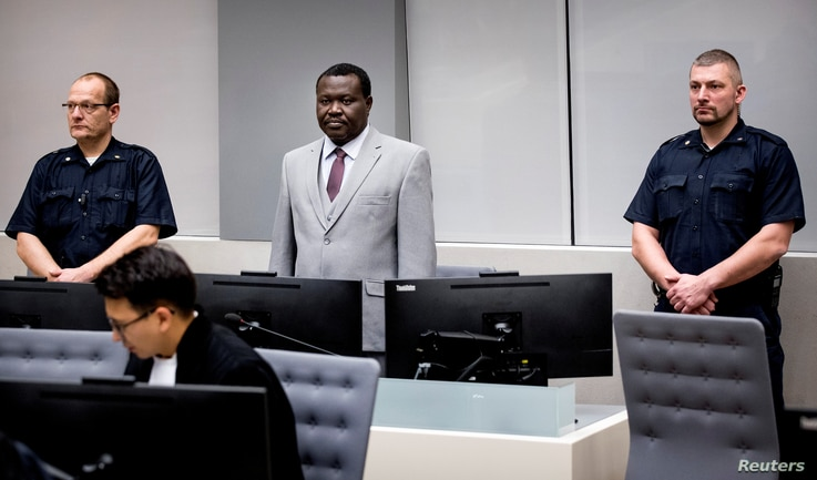 FILE - Central African Republic's soccer executive and alleged militia leader, Patrice-Edouard Ngaissona, appears before the International Criminal Court in The Hague, Netherlands, Jan. 25, 2019.