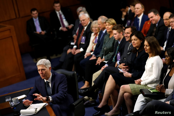 Supreme Court nominee Neil Gorsuch testifies before the Senate Judiciary Committee at his confirmation hearing on Capitol Hill in Washington, March 22, 2017.