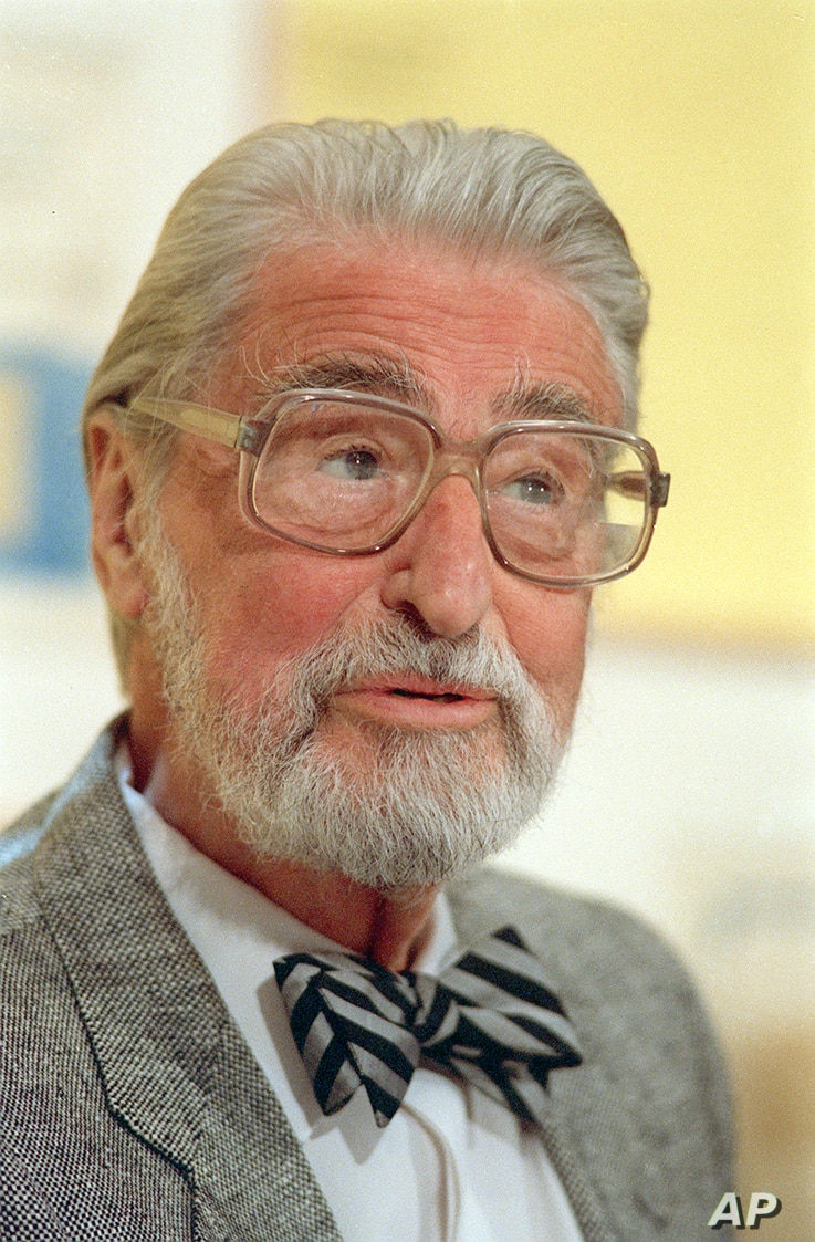 FILE - American author, artist and publisher Theodor Seuss Geisel, known as Dr. Seuss, speaks in Dallas, Texas, April 3, 1987.