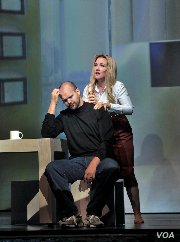 Edward Parks and Sasha Cooke, as Steve and Laurene Jobs, in a scene from the opera.