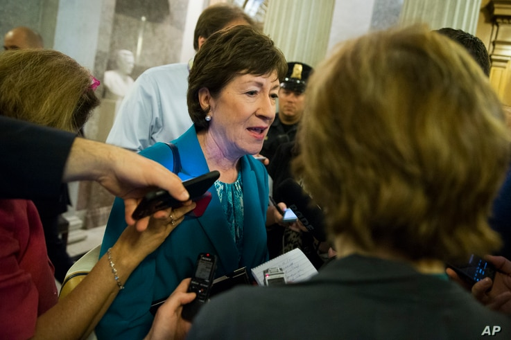 FILE - Republican Sen. Susan Collins speaks to reporters on Capitol Hill in Washington, June 23, 2016. Collins wrote in The Washington Post that she cannot support Republican presidential candidate Donald Trump in the fall election.