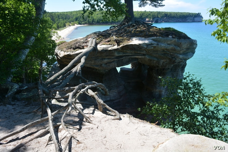 Chapel Rock was once connected to the mainland by an arch which fell in the 1940s. Today all that remains are roots of the white pine.
