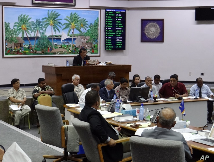 Lawmakers listen to people discuss the pros and cons of creating a digital currency, in Majuro, Marshall Islands, Feb. 23, 2018. The Marshall Islands is creating its own digital currency in order to raise some hard cash to pay bills and boost the eco...
