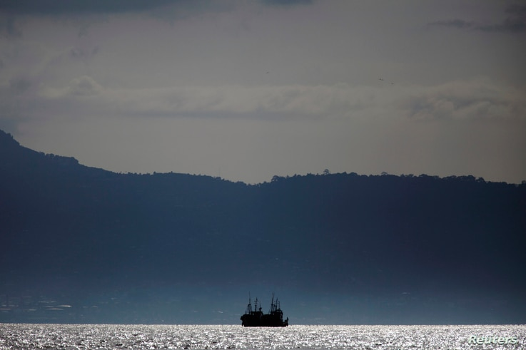 Chinese fishing trawlers anchor off the coast of Freetown, Sierra Leone, Nov.18, 2012.