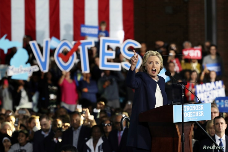 U.S. Democratic presidential nominee Hillary Clinton speaks during a campaign rally in Detroit, Michigan, U.S., November 4, 2016.