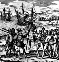 The Tainos greeted Columbus when he arrived on what is now the island of Hispanola.