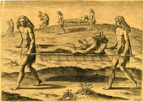 """""""Employments of the Hermaphrodites,"""" an engraving published by Theodor de Bry (1591), after a watercolor by Jacques Le Moyne de Morgues, in what is today Florida. In some tribal cultures, two spirits cared for the sick and buried the dead."""