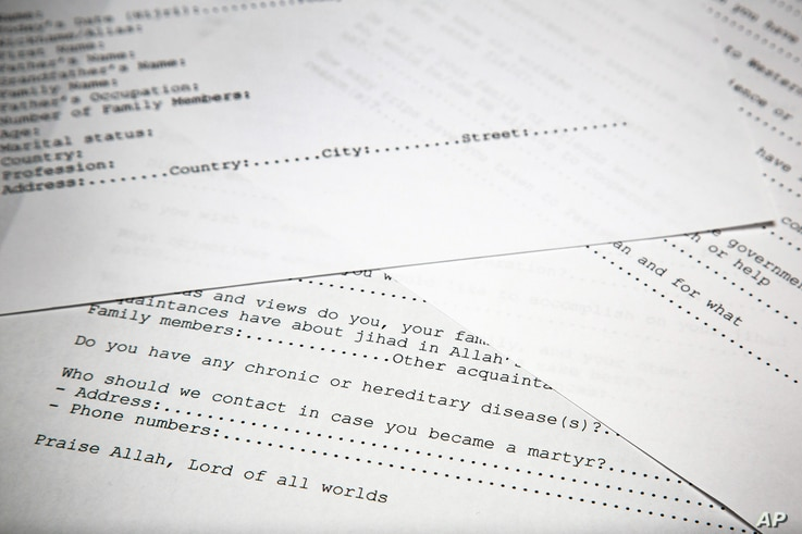 A translated copy of an application to join Osama bin Laden's terrorist network is photographed in Washington,  May 20, 2015.
