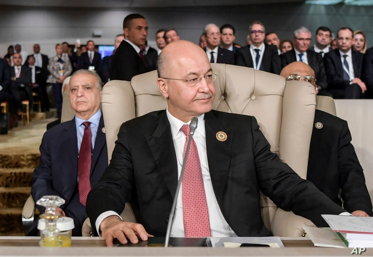 Iraq's President Barham Saleh attends the opening of the 30th Arab Summit in Tunis, Tunisia,  March 31, 2019.