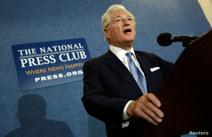 FILE - U.S. President Donald Trump's personal attorney, Marc Kasowitz, speaks at the National Press Club in Washington, June 8, 2017.