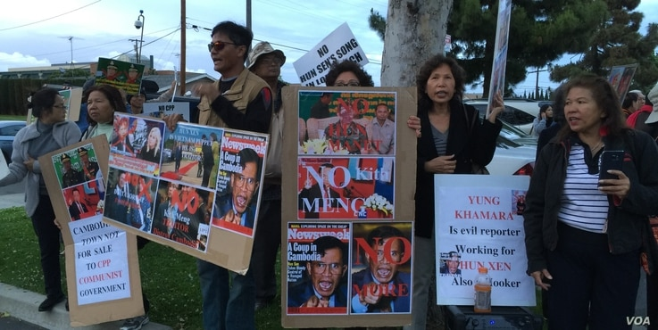 A large crowd of Cambodian Americans protests against the visit of Lt. Gen. Hun Manet, Deputy Chairman of Joint Staff in the Royal Cambodian Armed Forces, and the eldest son of Prime Minister Hun Sen, in Long Beach, CA, on Saturday, April 9, 2016. (P...