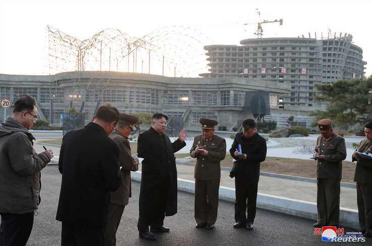 North Korean Leader Kim Jong Un visits the construction site of the Wonsan-Kalma coastal tourist area, North Korea, in this photo released April 5, 2019, by North Korea's Korean Central News Agency.