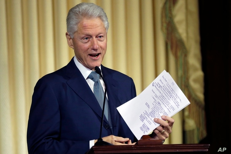 Former President Bill Clinton speaks during the ceremony naming the new Environmental Protection Agency headquarters in Washington, after him, July 17, 2013.