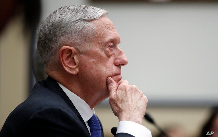 Defense Secretary Jim Mattis listens during a hearing of the House Armed Services Committee on Capitol Hill, Feb. 6, 2018 in Washington.
