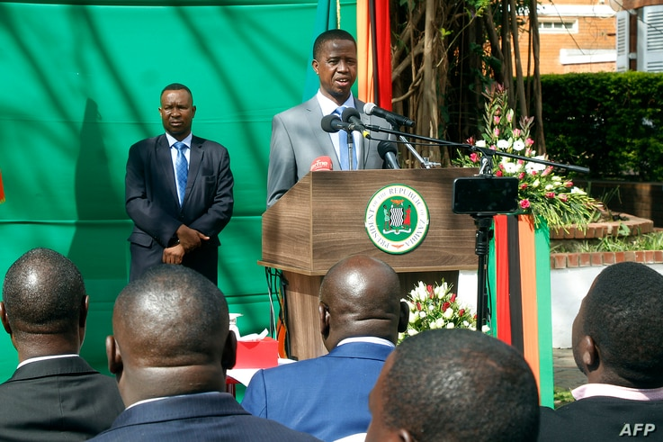 """Zambian President Edgar Lungu gives a press briefing July 6, 2017, at the Zambian State House in Lusaka. Lungu on Thursday justified invoking a state of emergency by alleging that opposition parties were behind a string of arson attacks intended """"to ..."""