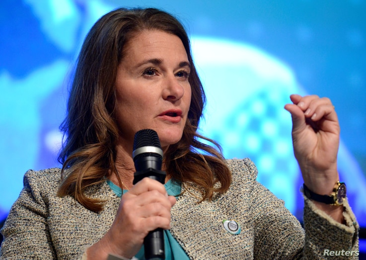 FILE - Co-Chair of the Bill & Melinda Gates Foundation Melinda Gates makes remarks during a panel discussion on investing in adolescents to improve nutrition, education, etc as part of the IMF and World Bank's 2017 Annual Spring Meetings, in Washingt...