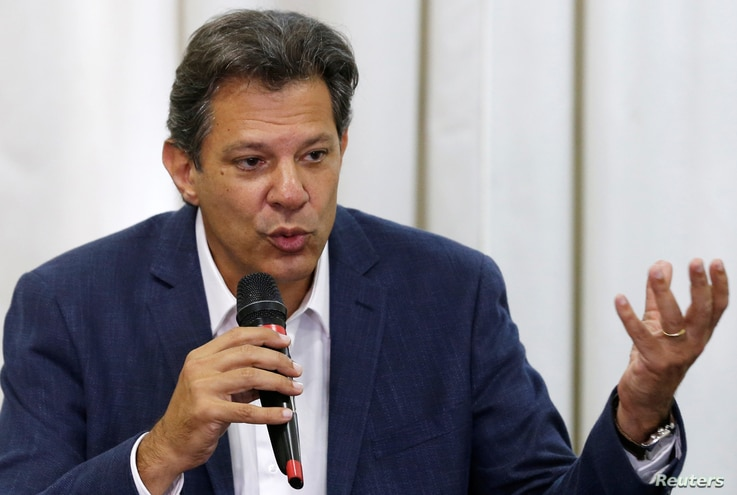 Fernando Haddad, presidential candidate of Brazil's leftist Workers' Party (PT), attends a news conference in Curitiba, Brazil, Oct. 8, 2018.