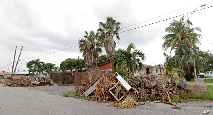 Piles of debris are shown on the sidewalks in front of homes waiting to be hauled away, Sept. 27, 2017, in Hialeah, Fla. Up and down Florida's peninsula, county officials say tree limbs made up the bulk of the storm debris.