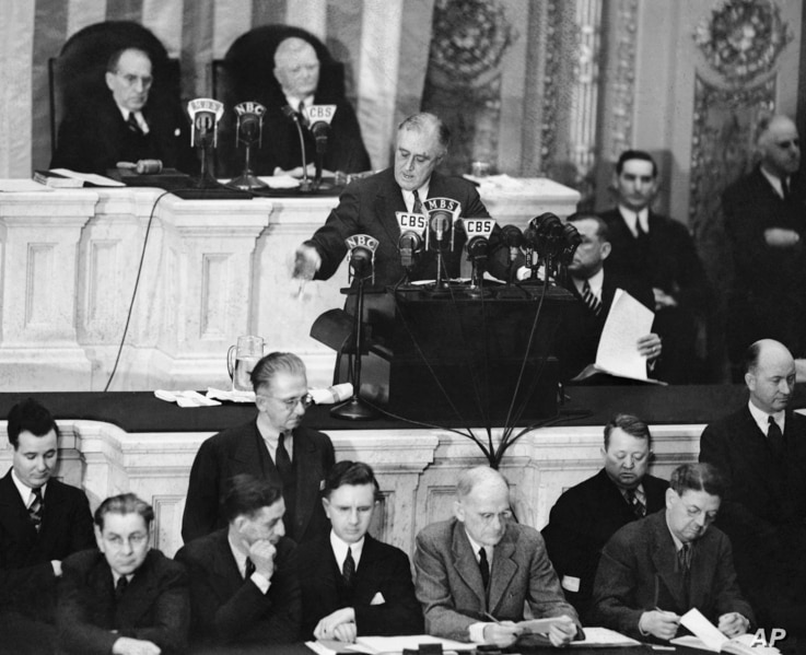 President Franklin D. Roosevelt addresses both houses of Congress in Washington, Jan.4, 1939 for a State of the Union speech focused largely on American defense.
