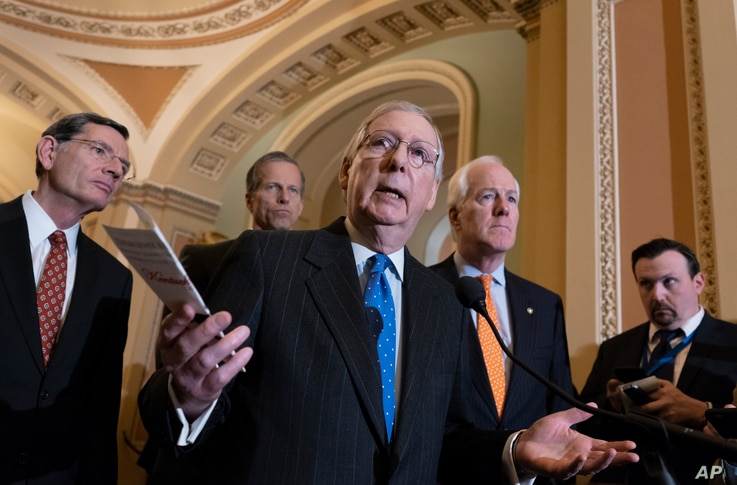 Senate Majority Leader Mitch McConnell, R-Ky., joined (L-R) by, Sen. John Barrasso, R-Wyo., Sen. John Thune, R-S.D., and Majority Whip John Cornyn, R-Texas, speaks with reporters following a closed-door strategy session on Capitol Hill in Washington,...