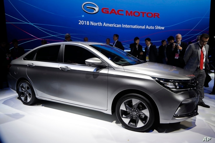 GAC unveils the 2019 GA4 during the North American International Auto Show in Detroit, Jan. 15, 2018.