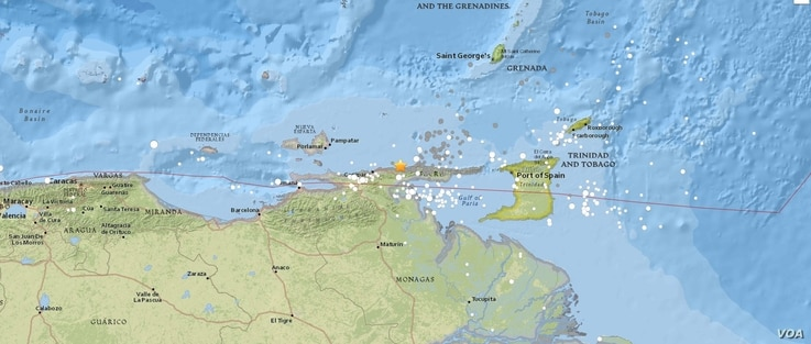 Venezuela earthquake locator map